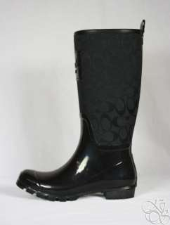 Pearl 12CM Signature Black Shiny Rubber Rainboots Rain Boots New A7314