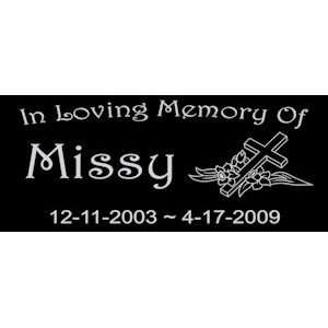 Personalized Black Granite Pet Memorial Marker Style Missy Pet
