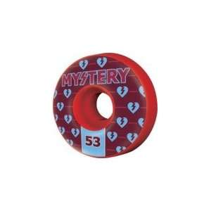 Mystery Authentics Red Skateboard Wheels   53mm 99a (Set