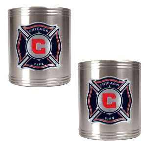 Chicago Fire MLS 2pc Stainless Steel Can Holder Set