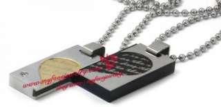 Gold Bk Stainless Steel Love Couple CZ Dog Tag Necklace