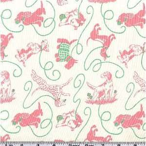 45 Wide Pampered Pooch Walk the Dog Pink Fabric By The