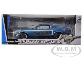 diecast model car of 1968 Ford Mustang GT 2+2 Fastback Blue Go Go
