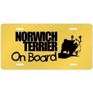 New  Norwich Terrier On Board  License Plate Dog