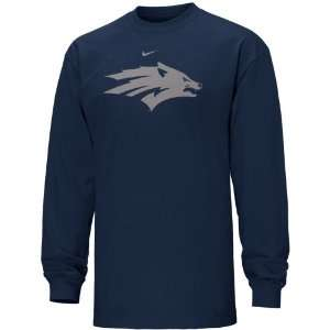 Nike Nevada Wolf Pack Navy Blue Classic Logo Long Sleeve T