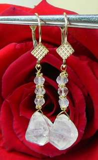 RARE NATURAL FIRE MOONSTONE BRIOLETTE 14K GOLD EARRINGS
