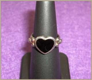 Womens Heart Shaped Sterling Silver Black Onyx Ring Sz 6.5
