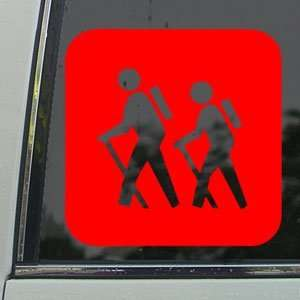 Hiker Mountain Hiking Red Decal Truck Window Red Sticker