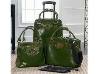 IMAN Global Chic Roll in Style Luxury Luggage Trio Set GREEN NWT