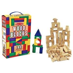 Melissa & Doug 100 Piece Wood Blocks Set and Wells 80 Piece Wooden