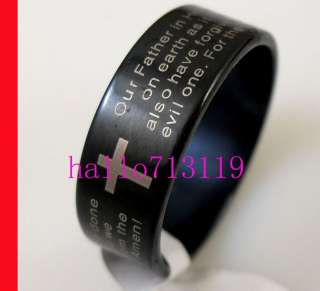 Lords Prayer English Bible Cross Stainless Steel Ring Jewelry free