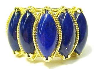 Lapis Lazuli / 14KT Solid Yellow Gold Womens Ring; Size 7.75