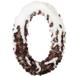 25 Oval Pine Cone and Berries Flocked Artificial Christmas Wreath