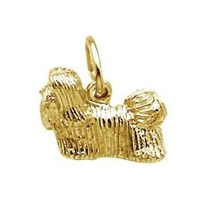Rembrandt Charms Shih Tzu Dog Charm, 22K Yellow Gold Plate on Sterling