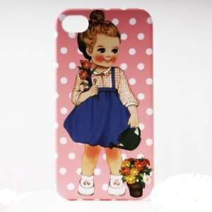 Pink Dot Shower Painting Vintage Pinup Girl iPhone 4/4S