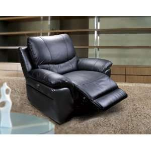 Black Leather Match Motorized Reclining Chair