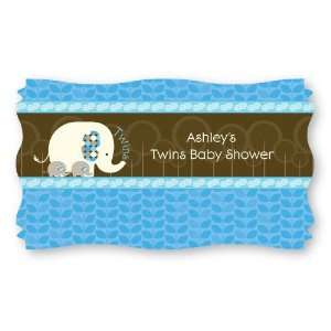com Twin Blue Baby Elephants   Set of 8 Personalized Baby Shower Name