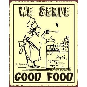 Good Food Vintage Metal Art Restaurant Service Retro Tin Sign Home