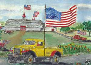 DODGE POWER WAGON ART LOGGING OIL TRUCK RIG TRACTOR 4x4