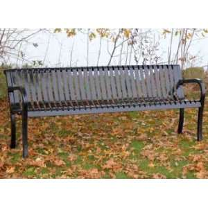 Heavy Duty Slatted Metal Bench Patio, Lawn & Garden