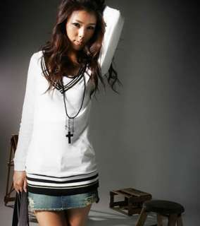 2011 new Japan autumn white womens V neck long sleeve slim T shirt