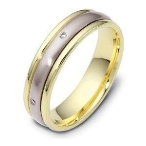 Diamond SPINNING 18 Karat Two Tone Gold Wedding Band Ring   8 Jewelry