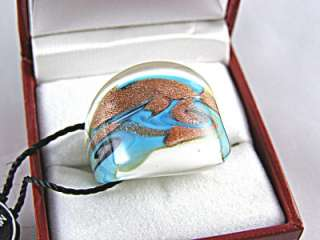 Murano Glass Ring Made in Italy 24k Gold Inlaid in Glass Size 6.5 List