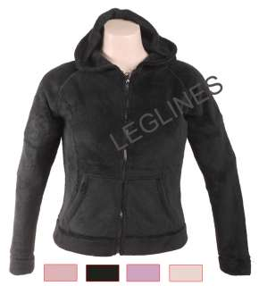 WOMENS FLEECE ZIPPER HOODIE SWEATSHIRT,BLACK,PINK,IVORY
