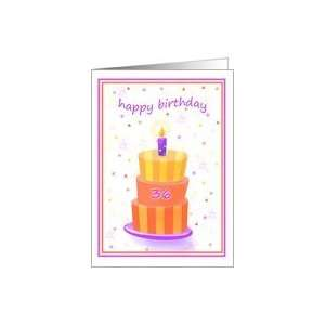 36 Years Old Happy Birthday Stacked Cake Lit Candle Card
