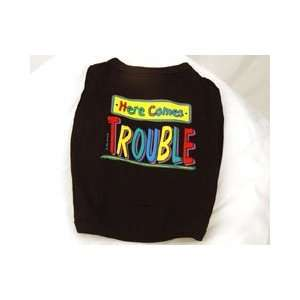 Here Comes Trouble Dog Shirt (Black, Medium) Kitchen