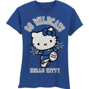NCAA Kentucky Wildcats Hello Kitty Pom Pom Girls Crew Tee Shirt (Royal