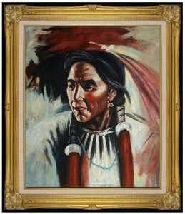 Framed Oil Painting Portrait of a Native American, Hand Painted