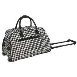 21 inch Houndstooth Carry on Rolling Duffel Bag