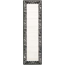 Lyndhurst Collection Zebra Border Black/ White Runner (23 x 8