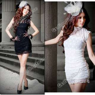 Slim Tight Womens Evening Party Lace Polo Neck Mini Dress #038