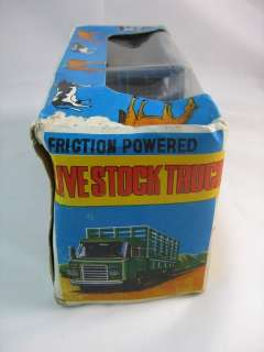 VINTAGE FRICTION LIVE STOCK TIN TOY TRUCK YONE JAPAN