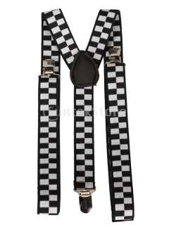 Checked Clip on Pants Braces Elastic Y back Suspenders FOR Girl Boys