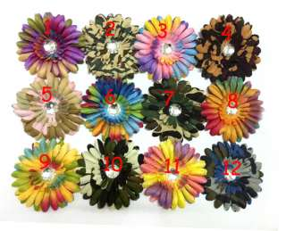 Crystal Centered Rainbow Flower Girl Baby Daisy Hair Clips Bow