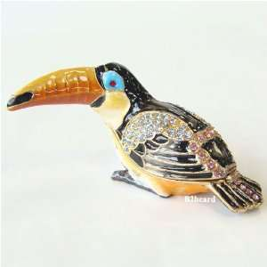 Toucan Bird Trinket Box with Swarovski Crystals