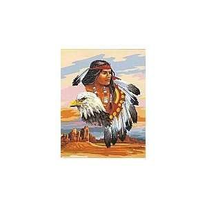 NATIVE AMERICAN CHIEF &EAGLE NEEDLEPOINT CANVAS Arts, Crafts & Sewing