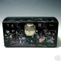 Pearl Handmade Lacquer Wood Decorative Keepsake Jewelry Box Chest Case