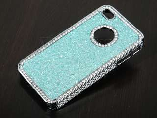 Light Blue Glitter Sparkle Diamond Bling Case Cover For iPhone 4 4S
