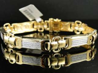NEW MENS YELLOW GOLD FINISH PAVE ROUND CUT DIAMOND BRACELET 2.0 CT