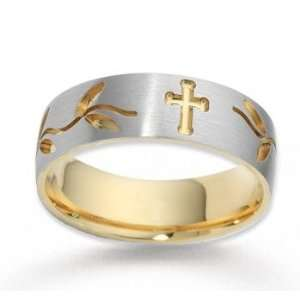14k Two Tone Gold Stylish Cross Carved Wedding Band Jewelry