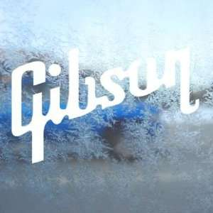 GIBSON GUITAR White Decal Car Laptop Window Vinyl White