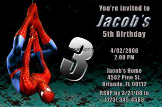 Spiderman Invitations Birthday Party Personalized Custom Made