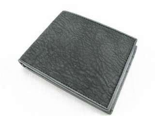 BLACK Shark Skin Leather Mens Bifold Wallet +