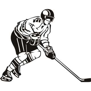 Side View Hockey Player Wall Art Stickers Wall Art Decal Transfers