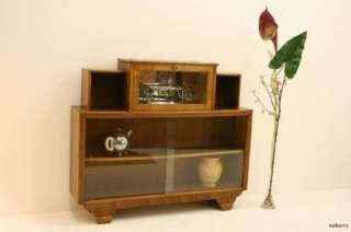 Stunning Art Deco Walnut Drinks Cabinet / Bookcase