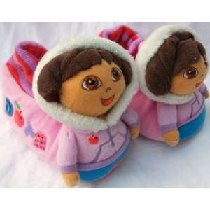 Dora the Explorer Winter Dora, Warm Soft Plush Shoes